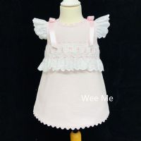 New Arrival Gorgeous Baby Girl Pink Spanish Dress Shoulder Bow
